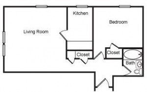 1 Bedroom with Kitchen Room Floor Plan