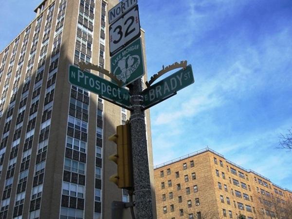 Prospect and Brady Street Signs